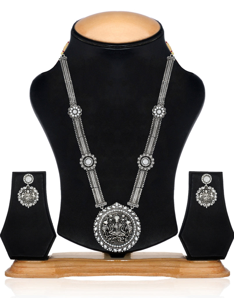 Zaveri Pearls Antique Silver Long Goddess Temple Necklace Set