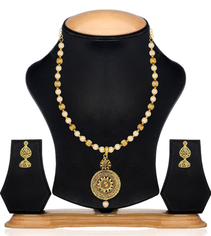 Zaveri Pearls Round Floral Pearls & Beads Mala Necklace Set