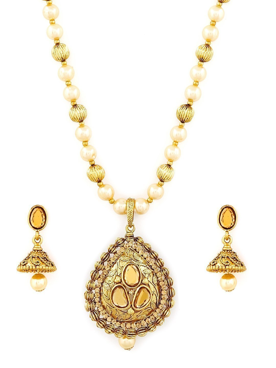 Zaveri Pearls Ethnic Pearls & Beads Mala Necklace Set