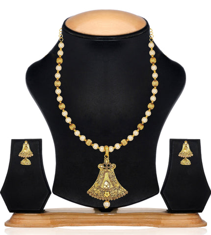 Zaveri Pearls Engravable Pearls & Beads Mala Necklace Set