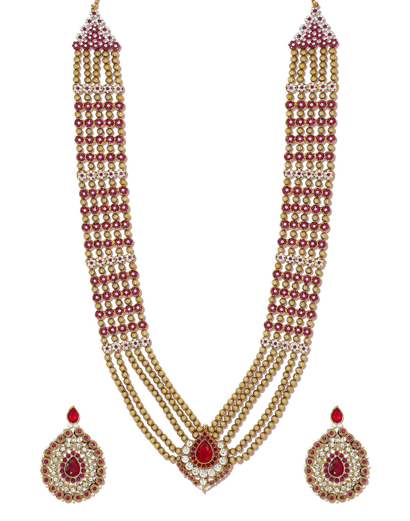 Zaveri Pearls Royal Look Long Traditional Necklace Set