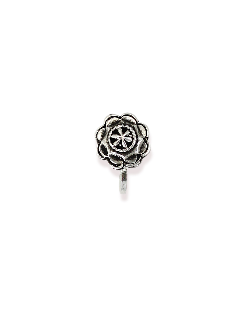 Zaveri Pearls Circular Shape Silver Antique Clip-on Nose Pin