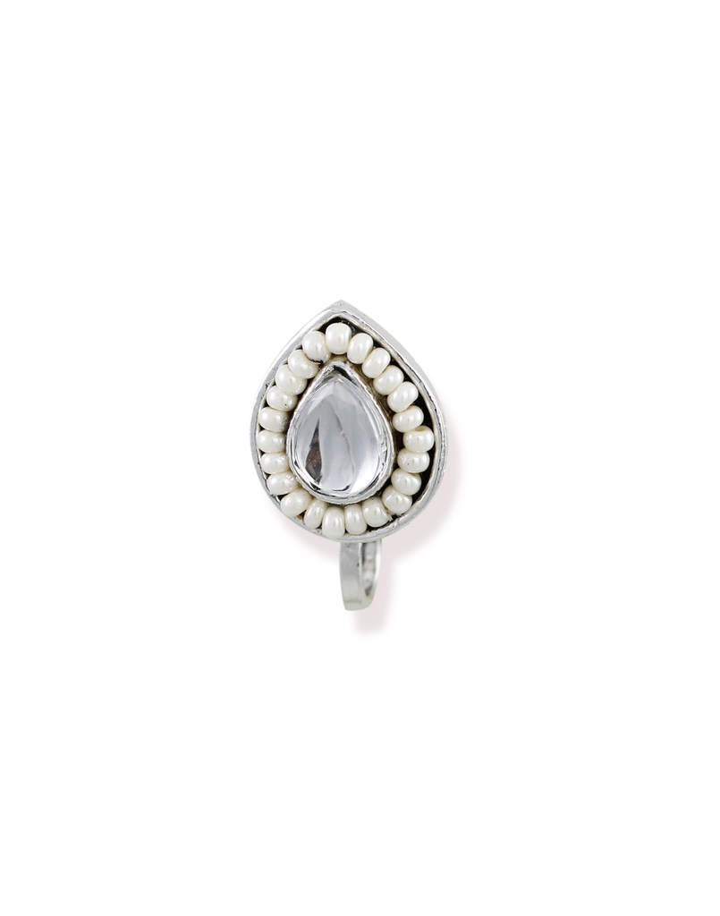 Zaveri Pearls Drop Shape Dark Silver Antique With Pearls Studded Clip-on Nose Pin