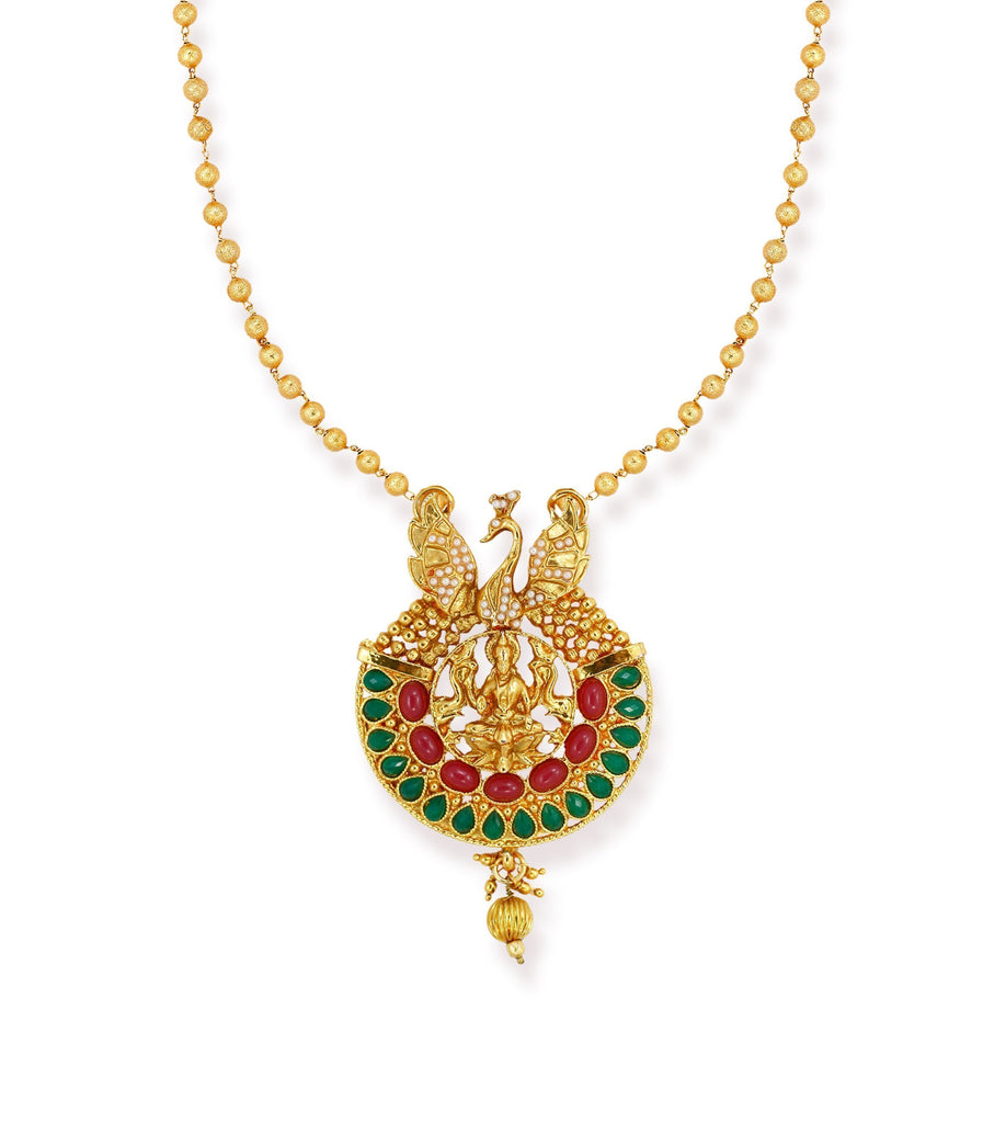 Zaveri Pearls Ethnic Temple With Peacock Design Necklace Set