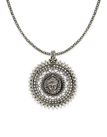 Zaveri Pearls Divine Goddess Silver Toned Necklace