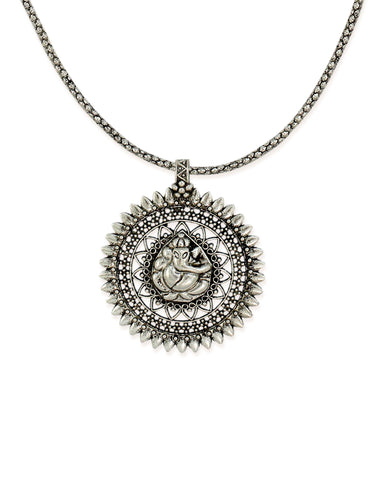Zaveri Pearls Lord Ganesha Silver-Toned Necklace