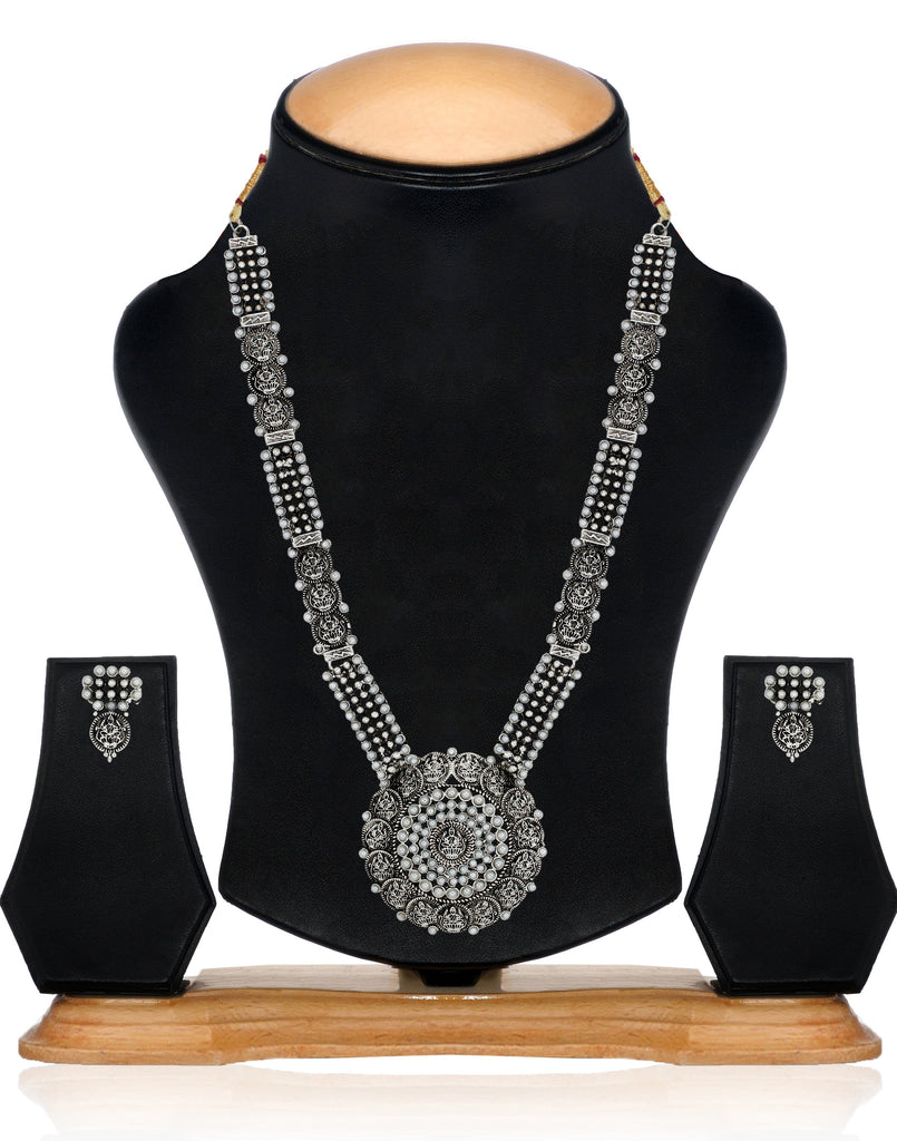 Zaveri Pearls Combo of 2 Antique Silver-Tone Divine Lakshmi Temple Necklace Set