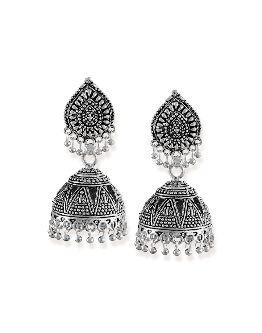 Zaveri Pearls Dome Shaped Jhumki with Silver Bead Drops Earring