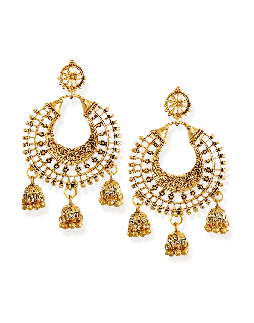 Zaveri Pearls Gold-Toned Chandbali With Jhumki Drop Earring