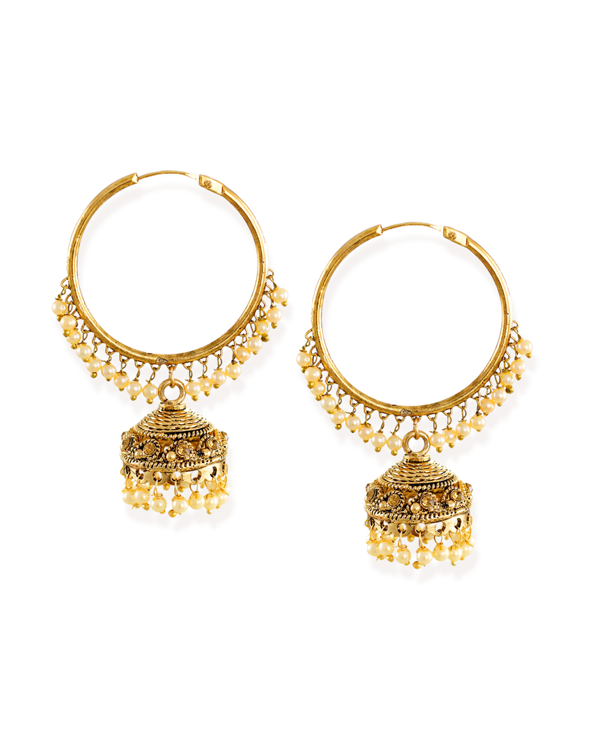 Zaveri Pearls Gold-Toned Ethnic Jhumki & Pearl Drops Earring