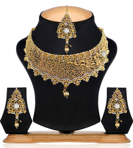 Zaveri Pearls Precisely Designed Antique Traditional Choker Necklace Set & Maang Tikka