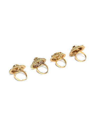Zaveri Pearls Combo of 4 Gold-Toned Ethnic Finger Ring