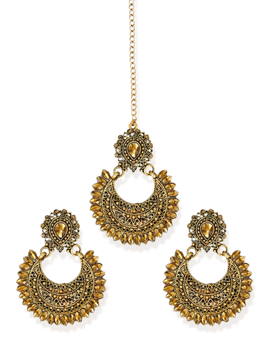 Zaveri Pearls Combo of 2 Beautiful Earring & Maangtikka Set