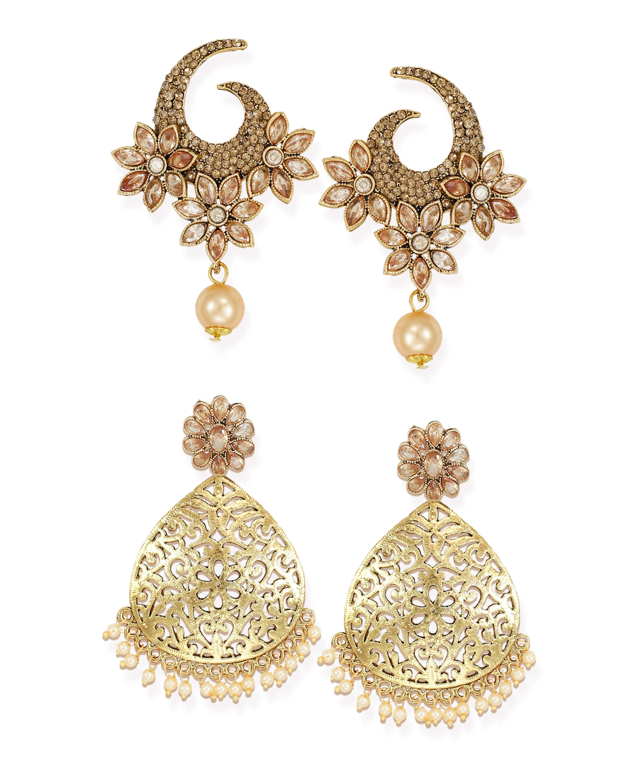 Zaveri Pearls Combo of 2 Gold-Toned Dangle Earring