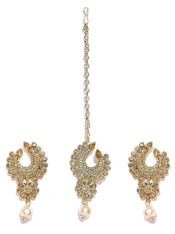 Zaveri Pearls Shimmering Austrian Diamonds Studded Earring & Maangtikka Set