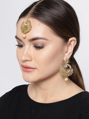Zaveri Pearls Peacock Inspired Traditional Earring & Maangtikka Set