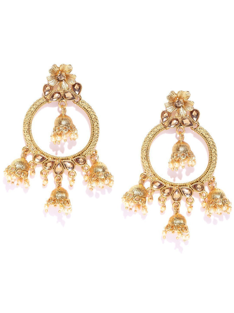 Zaveri Pearls Gold Tone Ethnic Earring With Dangling Jhumki Drops