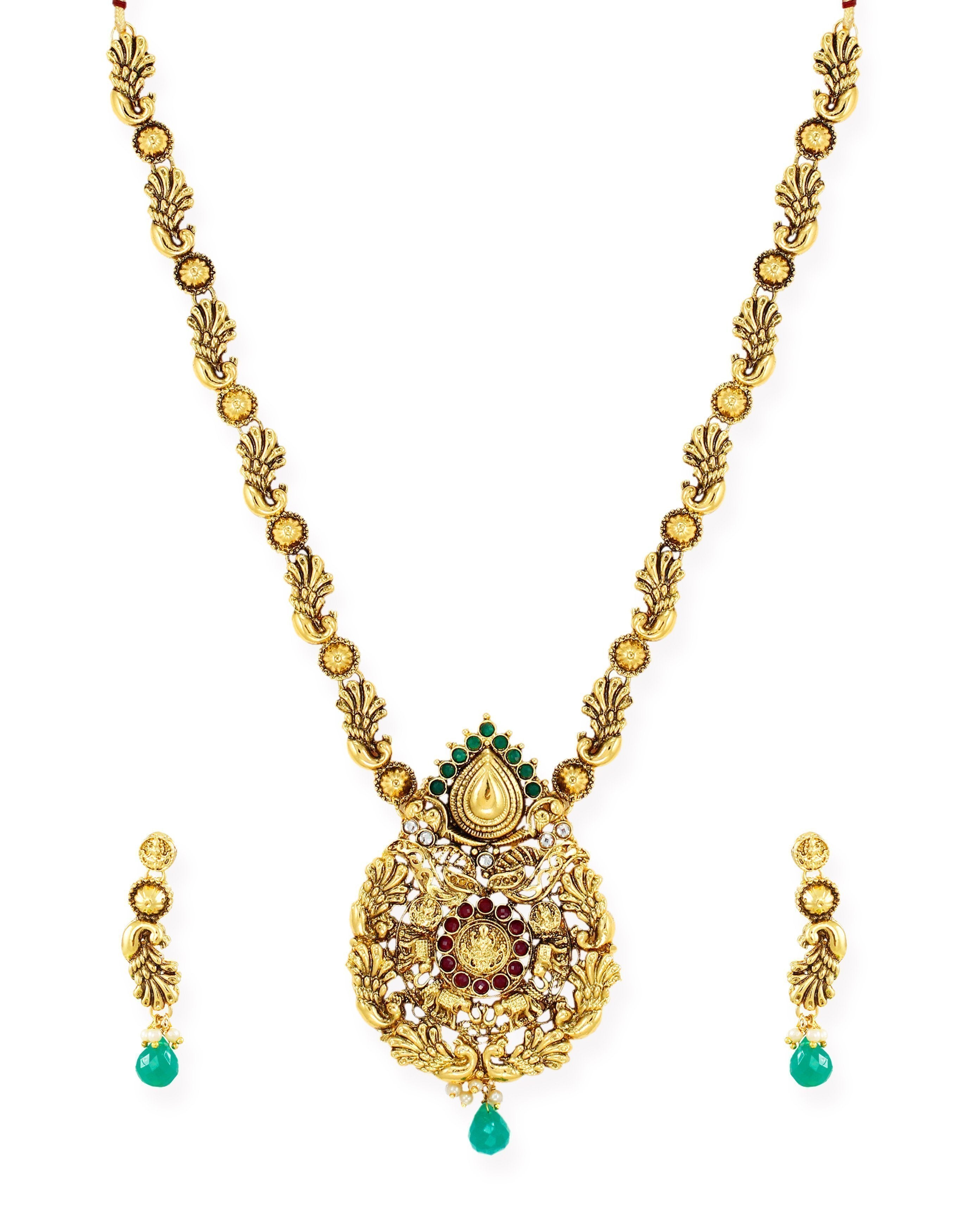 Zaveri Pearls Gold Tone Peacock Inspired Traditional Necklace Set