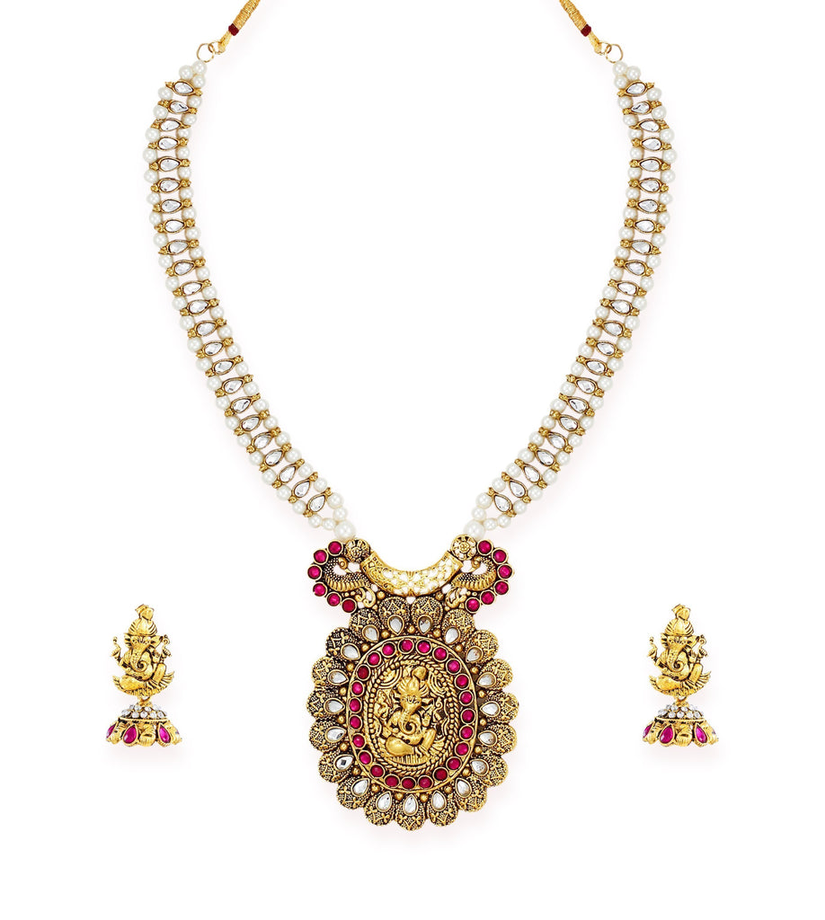 Zaveri Pearls Beautifully Designed Antique Gold Tone Lord Ganesha Temple Necklace Set