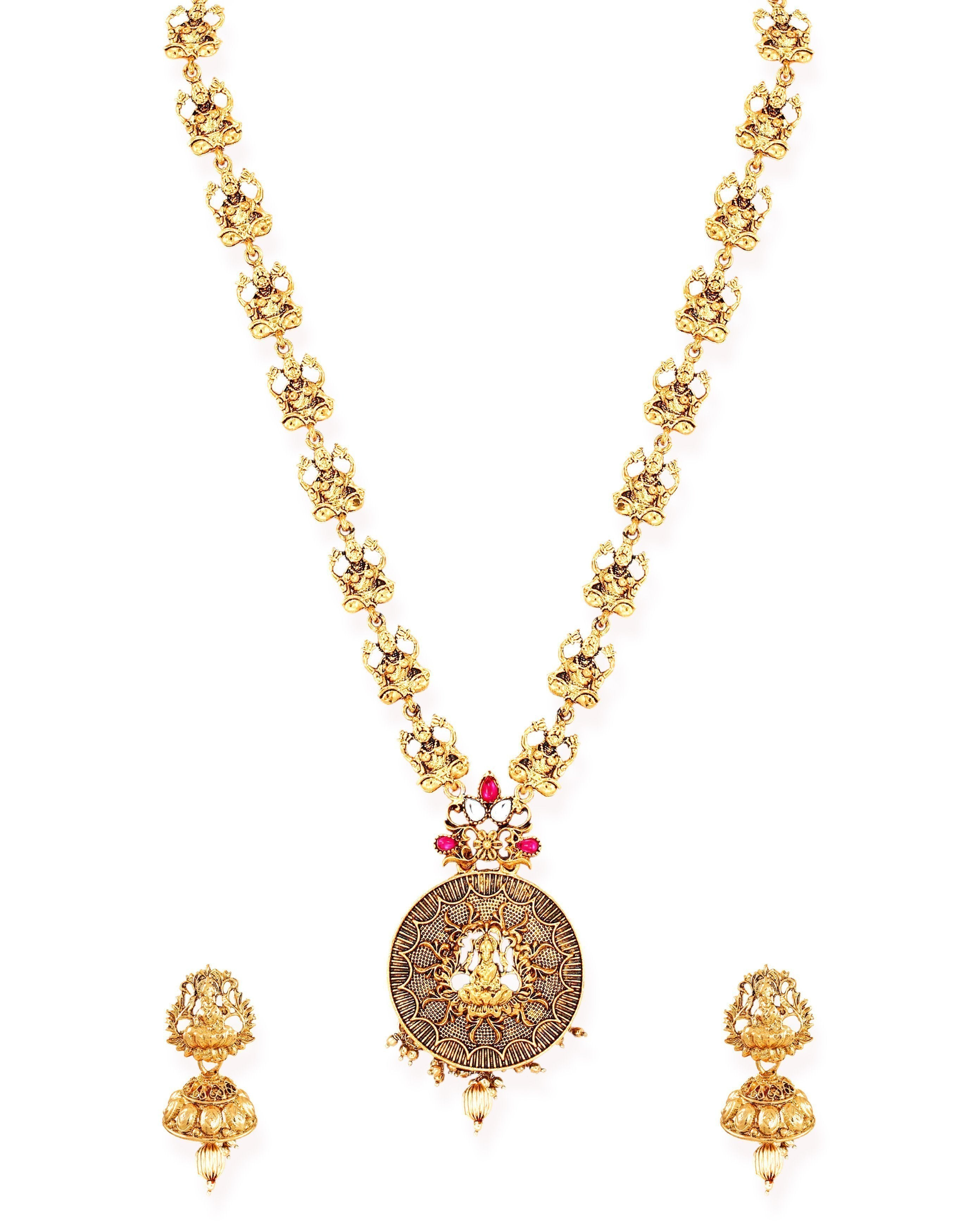 Zaveri Pearls Antique Gold Tone Goddess Temple Necklace Set