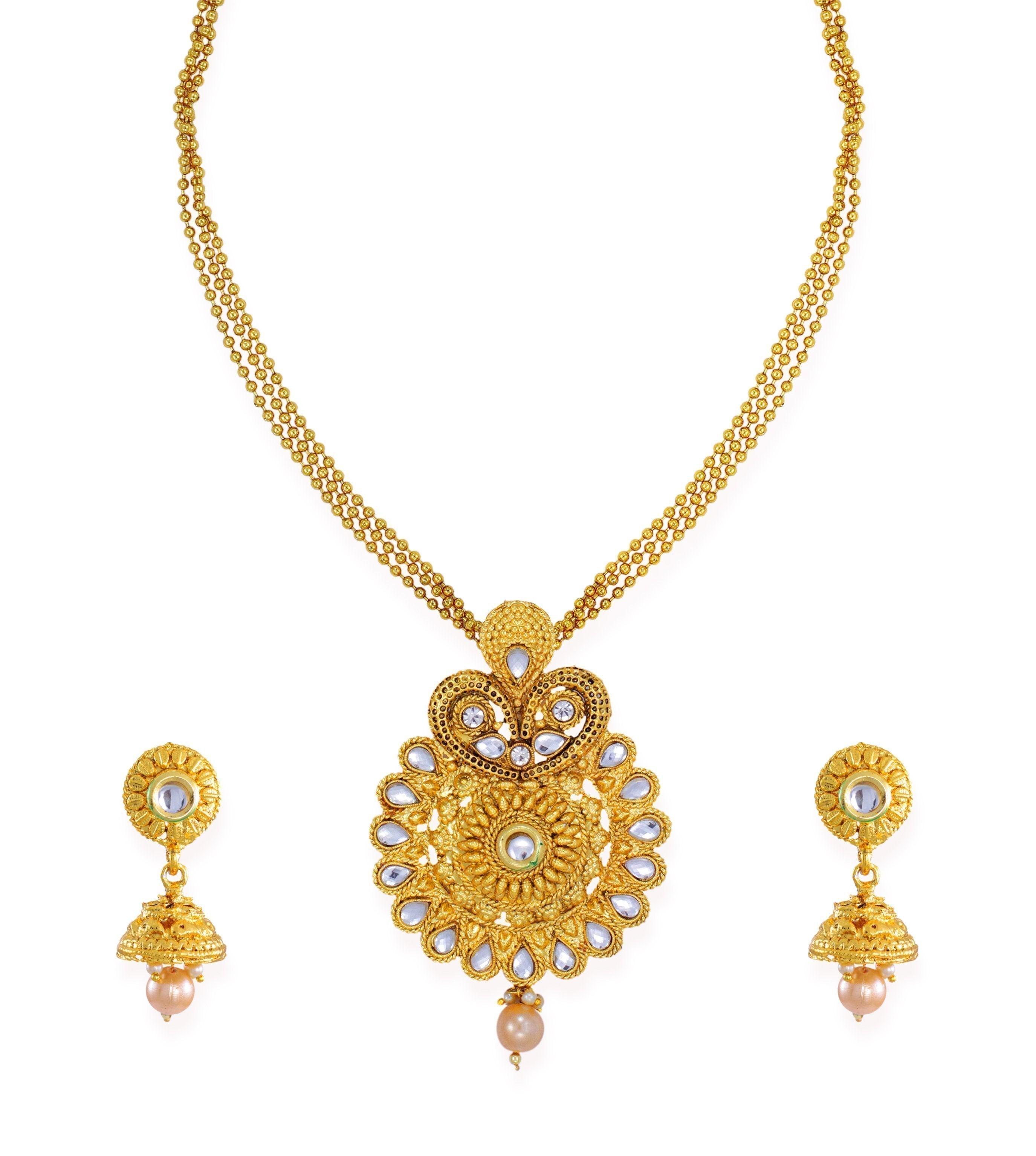 Zaveri Pearls Gold Tone Traditional Necklace Set