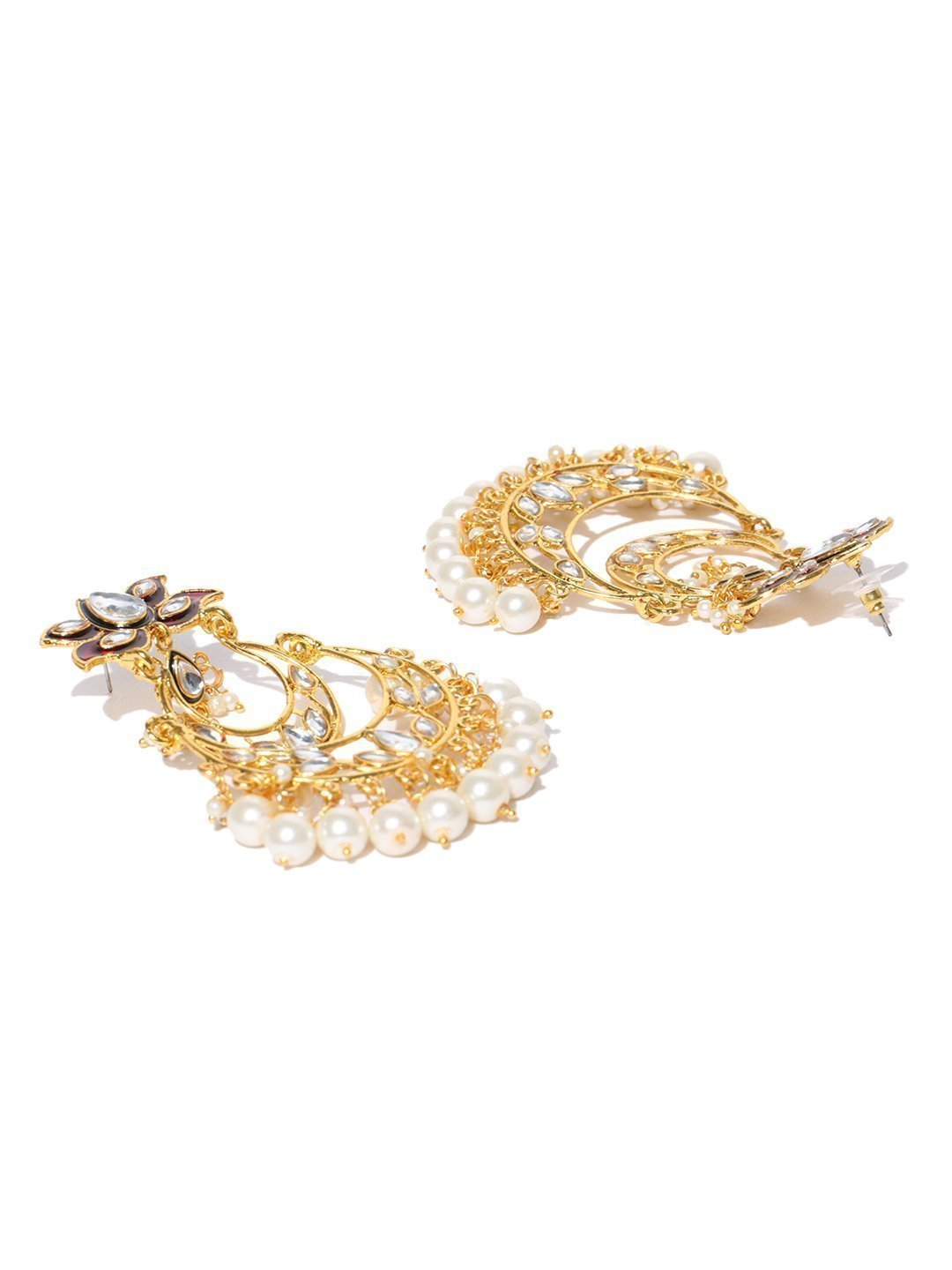 Zaveri Pearls Beautifully Enamelled Gold Tone Chandbali Earring