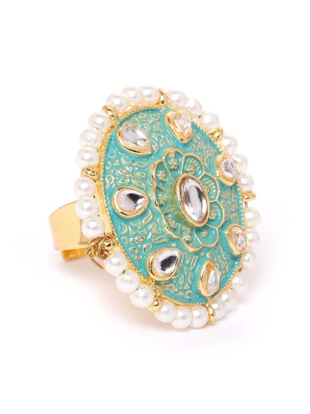 Zaveri Pearls Gold Plated Kundan Stones Floral Design Blue Enamel Paint Pearl Studded Adjustable Finger Ring