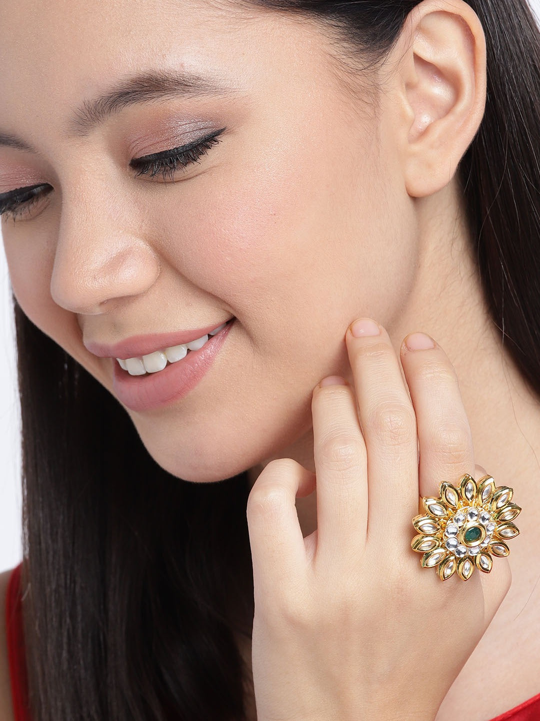 Zaveri Pearls Gold Plated Kundan Stone And Green Stone Oval Shape Design Adjustable Finger Ring
