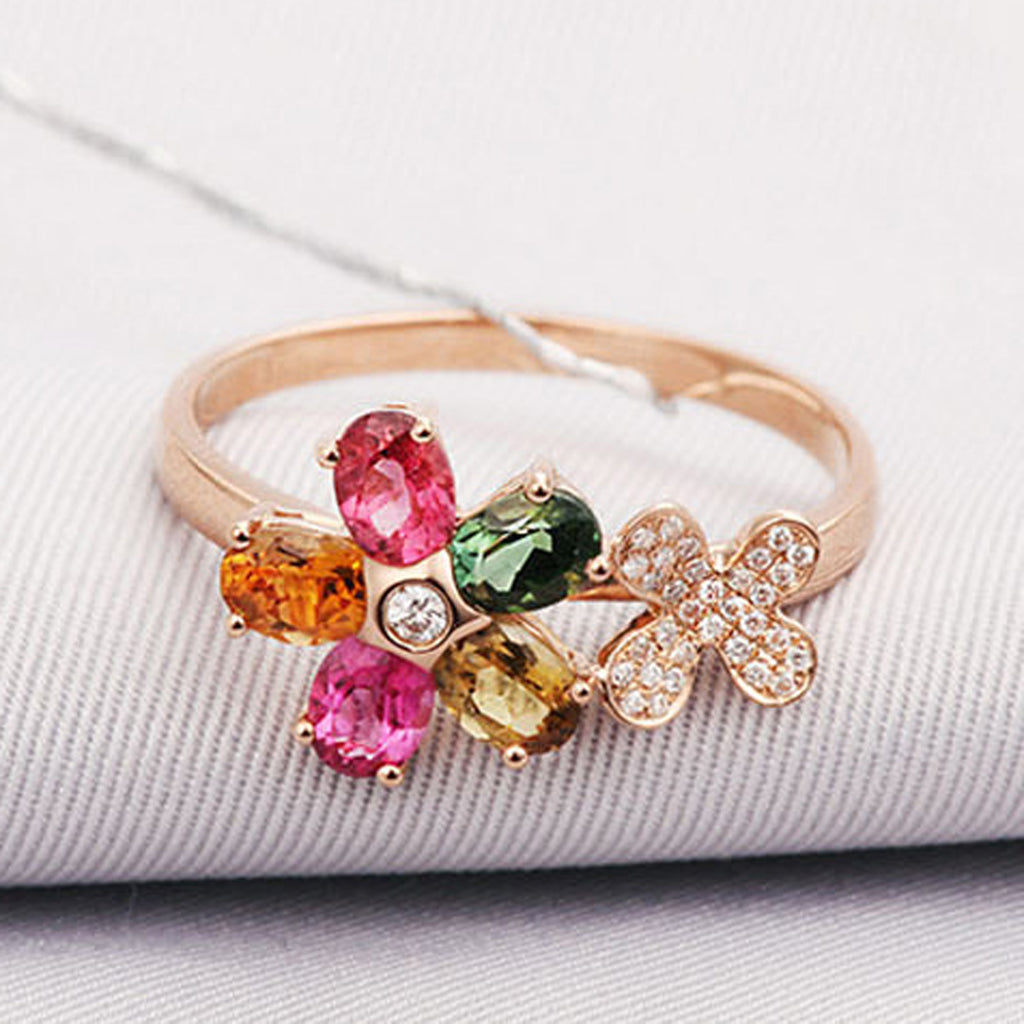 Sukkhi Intricately Twisted Floral Crystal Stone Multi Colour Gold Plated Finger Ring for Women-SUKKHI-Finger Ring