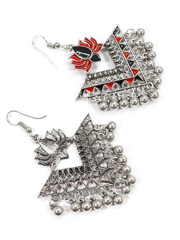 Aana Silver Plated Red & Black Color Lotus Design Afghani Earring