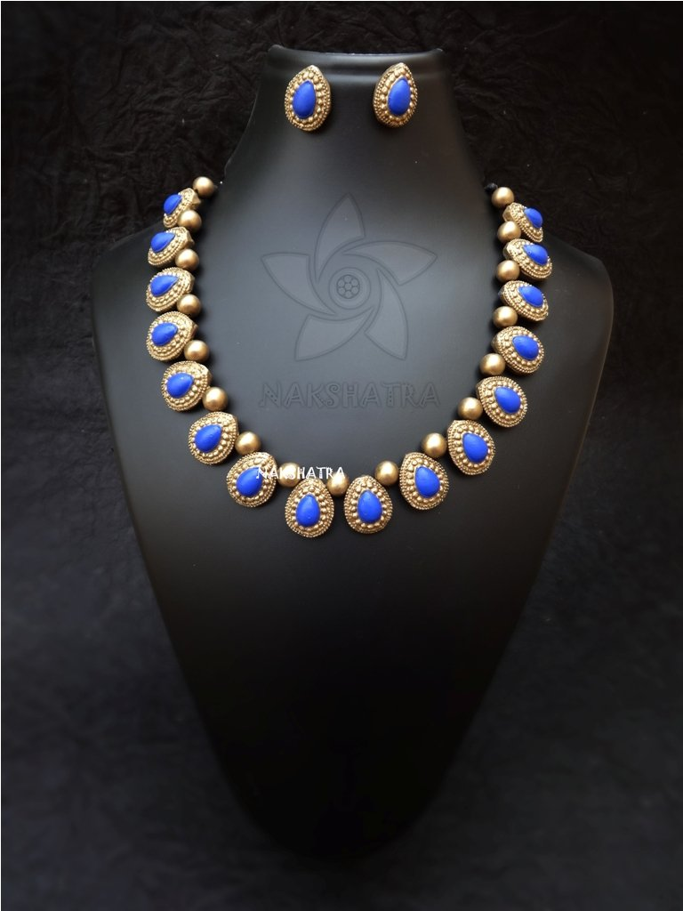 Nakshatra Terracotta Shades Of Ocean Choker Necklace Set