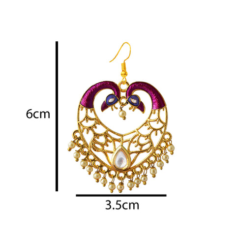 Purple Color Meenakari Dual Peacock Crown Heart Dangler Earring