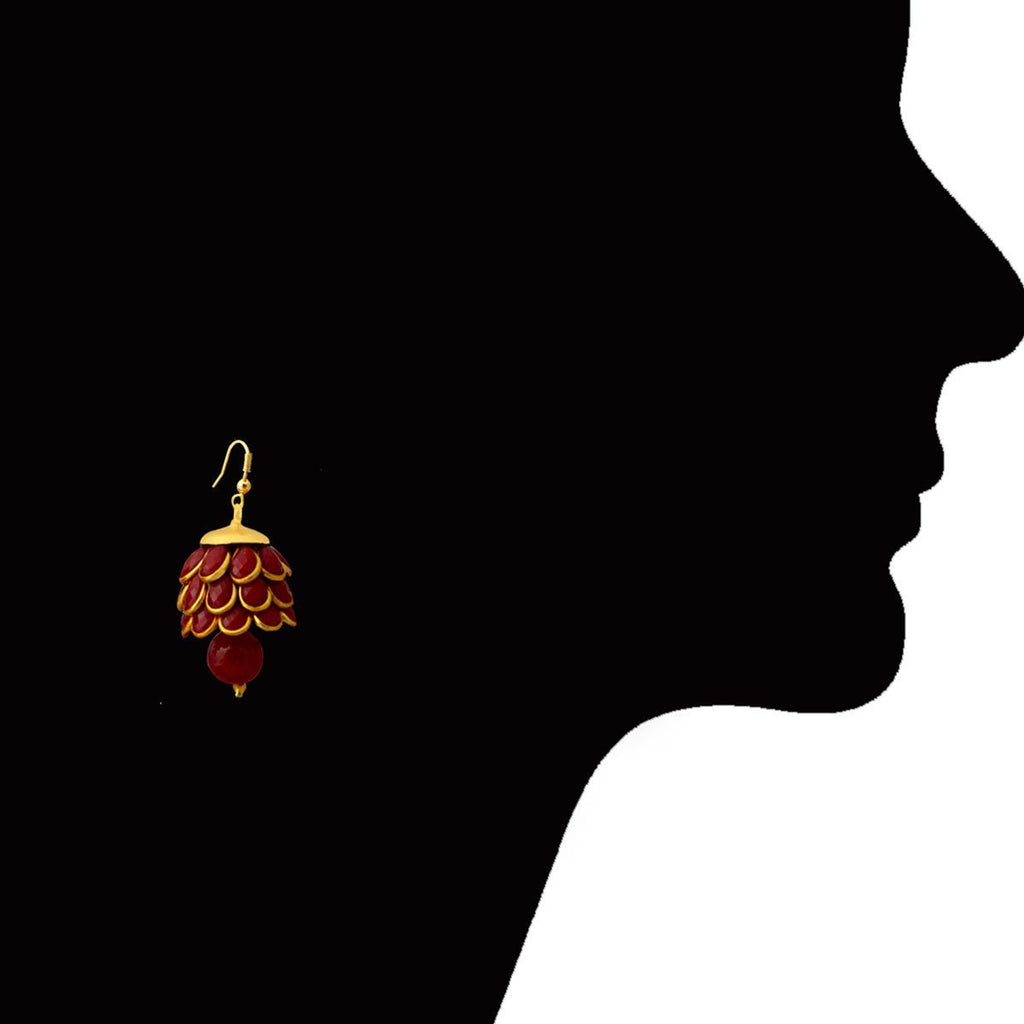 Designer Pacchi Pearl Stone Red Gold Plated Jhumki Earring
