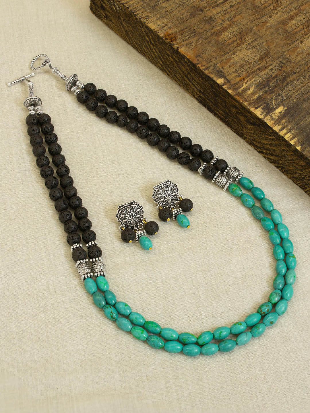 An Elegant Double Layered Black And Sky Blue Color Semi Precious Stones Necklace Set By Jewel Box-JEWEL BOX-Necklace Set