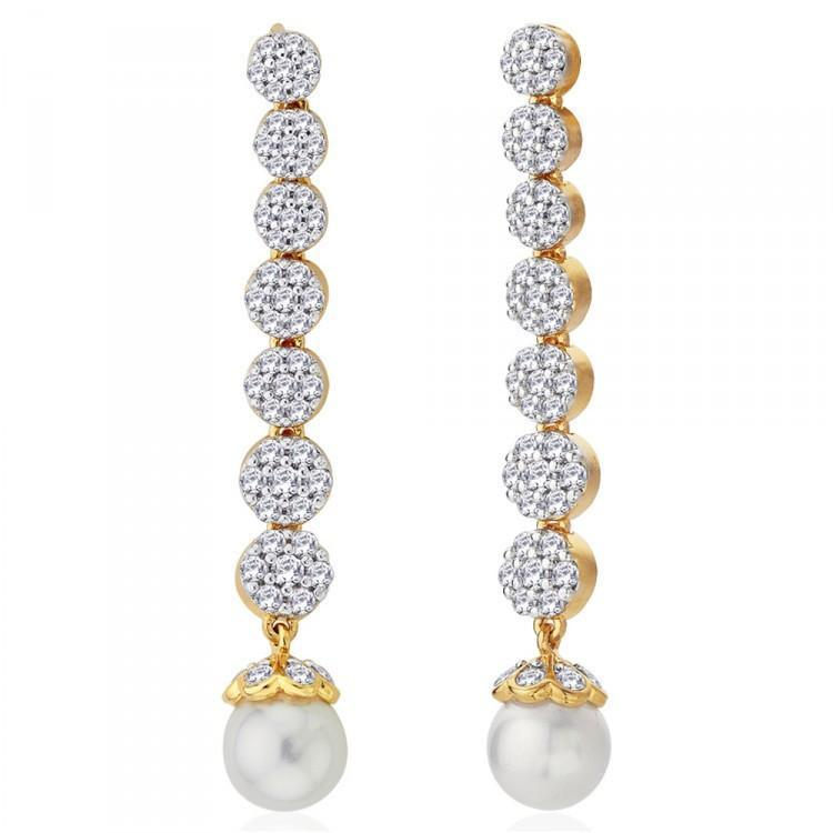 Elite Long Drop Pearl Earrings For Party Wear