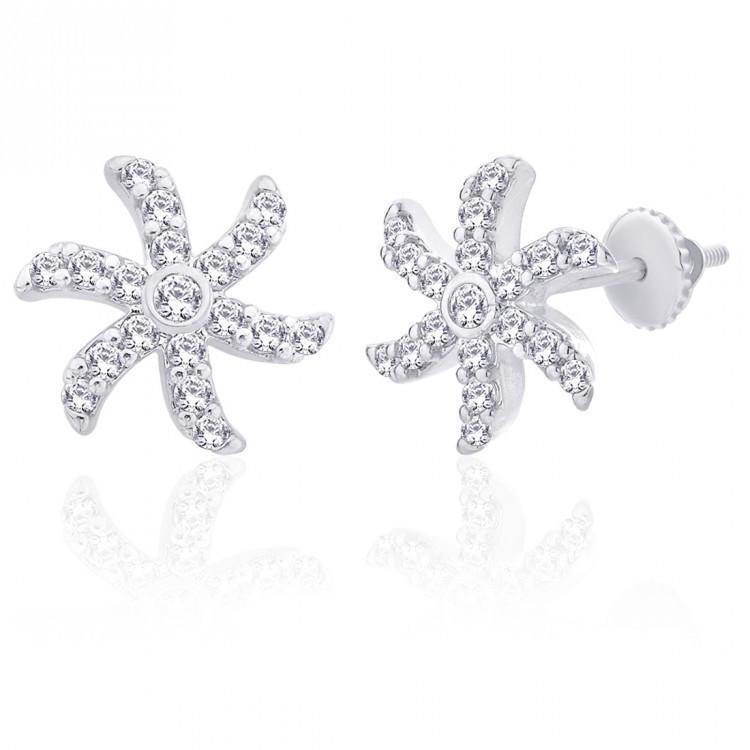 Curvy Florry Stud Earrings For Party Wear