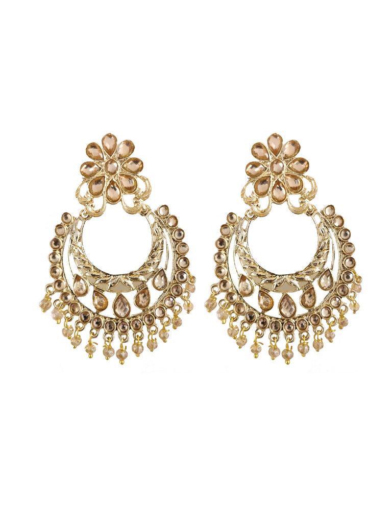 Champagne Beaded Embellished Dangler Earrings