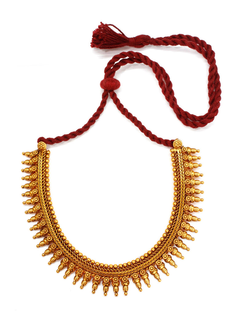 Avismaya Temple Jewellery Matt Gold Antique Finish Choker Necklace Set-AVISMAYA1-Necklace Set