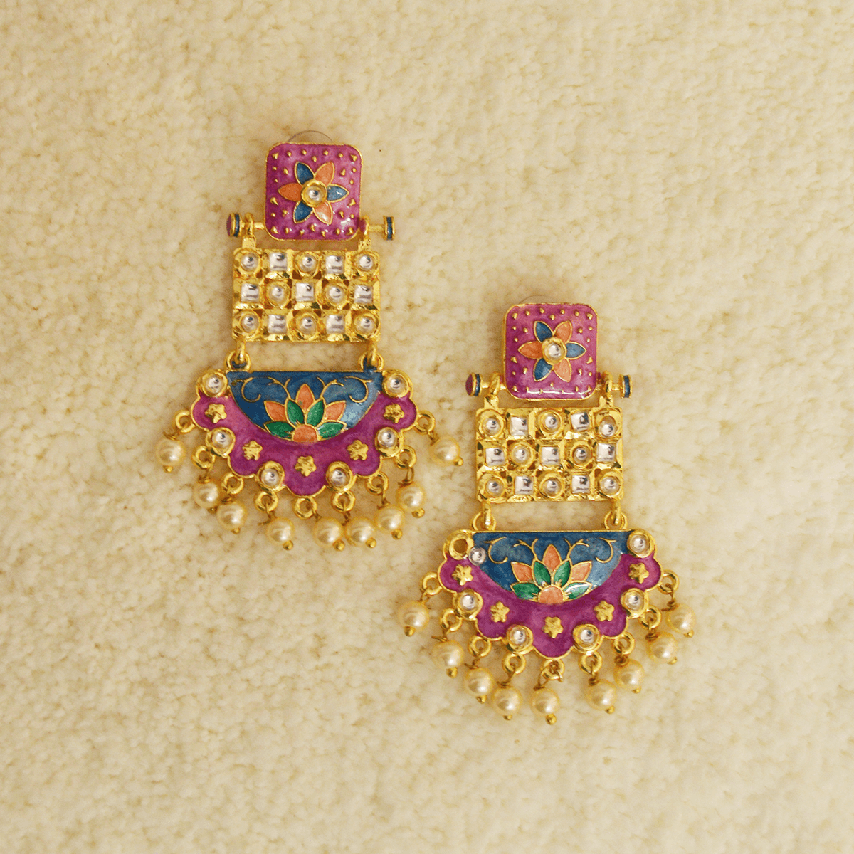 MK Jewellers Pink And Violet Blue Color With Kundan Stone Meenakari Dangler Earring-MK JEWELLERS1-Earring