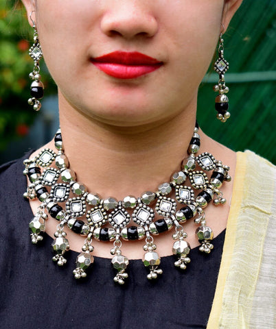 Oxidized Metal Navaratri Colored White And Black Necklace Set