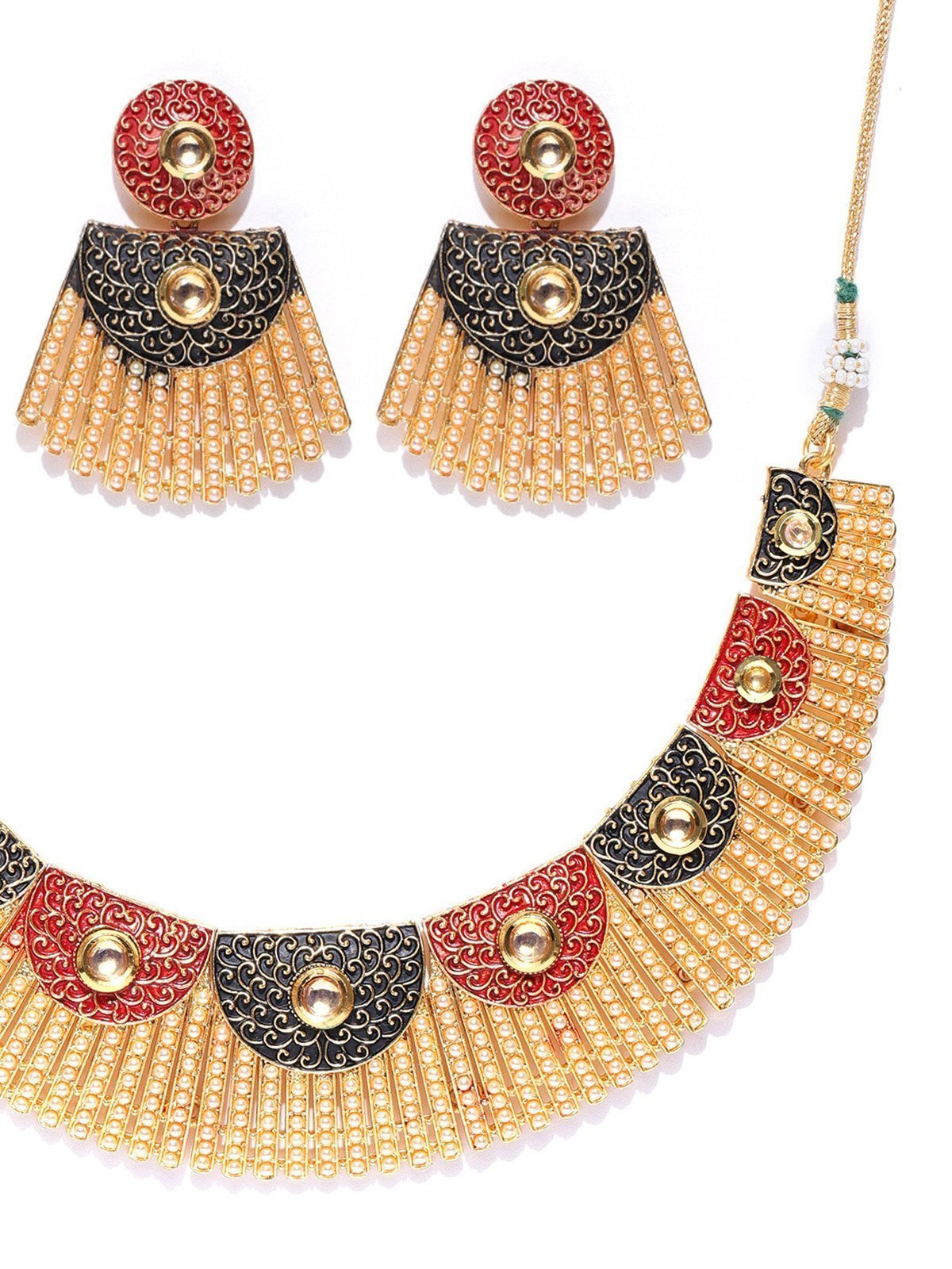 Zaveri Pearls Finely Enamelled Filigreee  And Pearls Necklace Set
