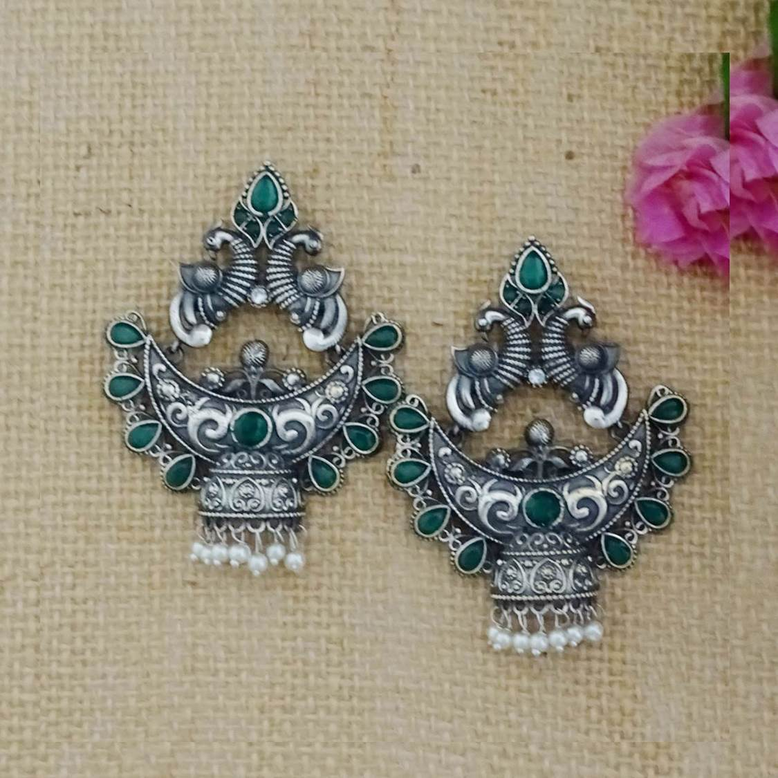 Oxidised German Silver Peacock Design With Plasto Stones And Pearls Jhumka Earring-GEMS N PEARLS-Earring