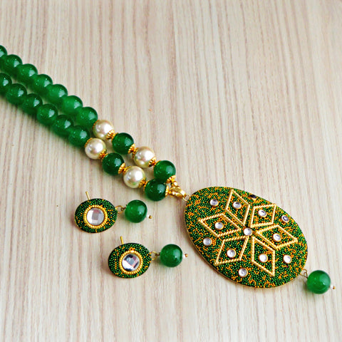 Green Colour Beads Floral Design With Kundan Meenakari Necklace Set