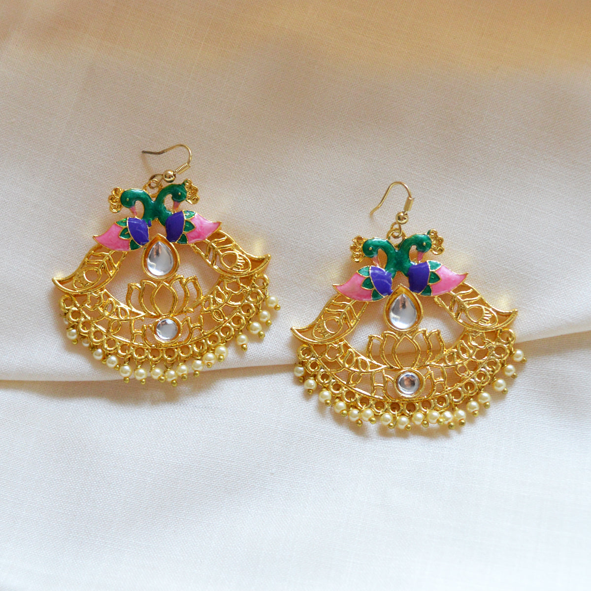 Pink And Green Reverse Peacock And Lotus Design Meenakari Dangler Earring