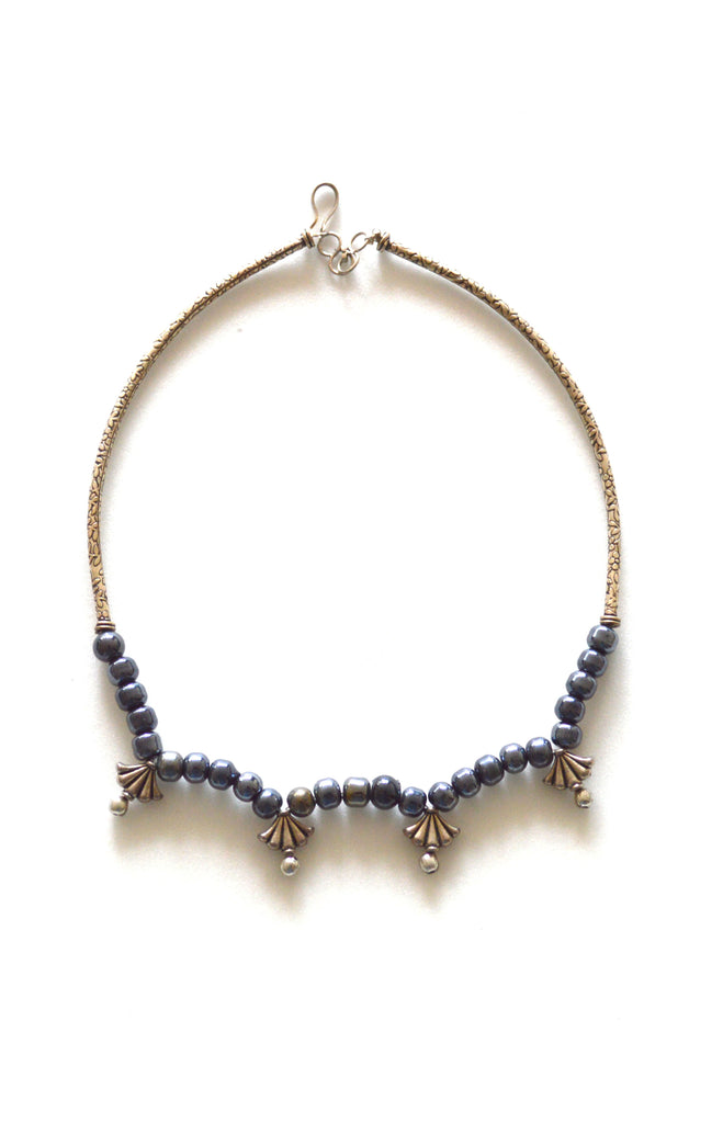 Gold Color Motifs With Blue Color Shade Of Glass Beads Choker Necklace