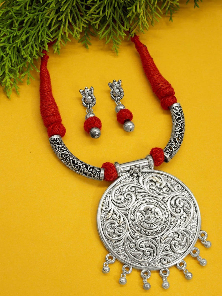 Oxidised Silver Temple Jewellery Big Ganesha Pendant Necklace Set By Nishna Designs-NISHNA DESIGNS-Necklace Set