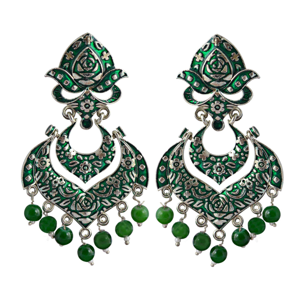 MK Jewellers Green Color Dangler Earrings-MK JEWELLERS1-Earring