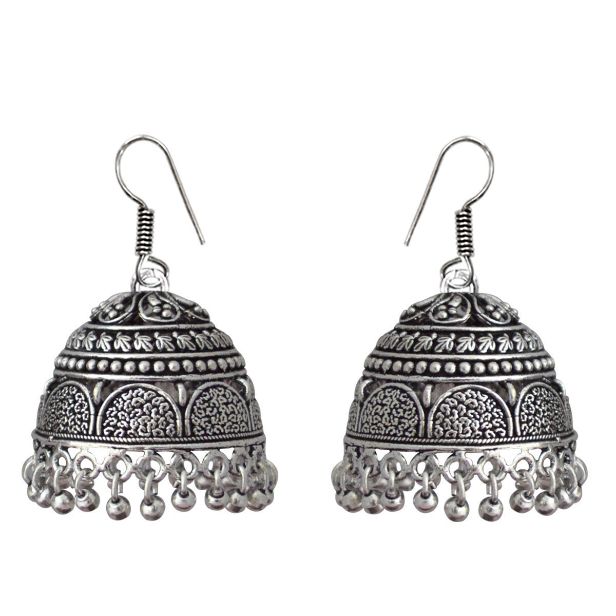 German Silver Antique Oxidized Meenakari Tribal Designer Tokri Jhumki Earring