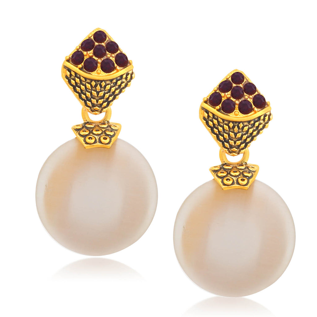 Sukkhi Excellent Gold Plated Pearl Dangle Earring For Women-SUKKHI1-Earring