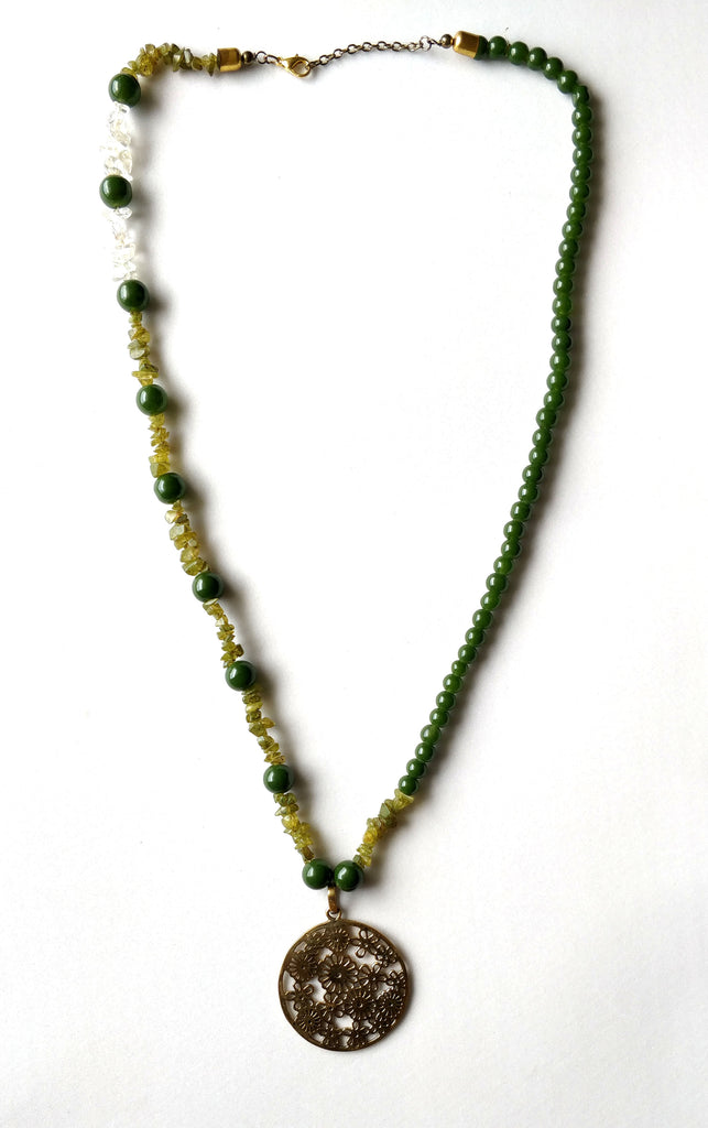 Green Color Glass Beads Long Necklace